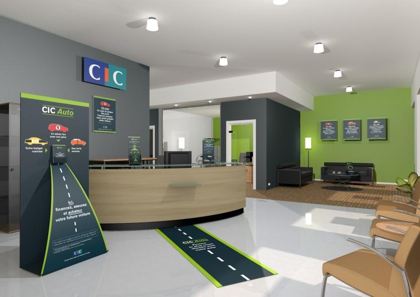 Campagne de lancement CIC AUTO - Théâtralisation accueil agences